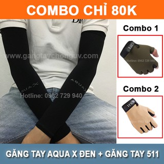 Combo găng tay chống nắng Aqua X đen + găng tay đi xe máy 511 thumbnail