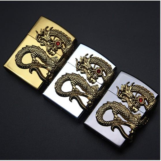 Bật lửa Hộp Quẹt Zippo Xài Gas lửa thường, rồng có ngọc cực đẹp(chọn mẫu thoải mãi)