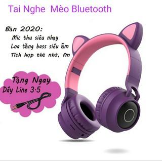 [Mã ELFLASH5 giảm 20K đơn 50K] Tai Nghe Mèo Bluetooth, Headphone Tai Mèo Dễ Thương Có Mic,Âm Bass Mạnh Mẽ Siêu Ấm