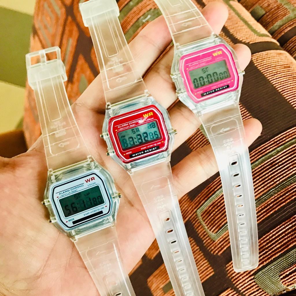 Đồng hồ unisex điện tử WR dây nhựa phát sáng có báo thức S8718