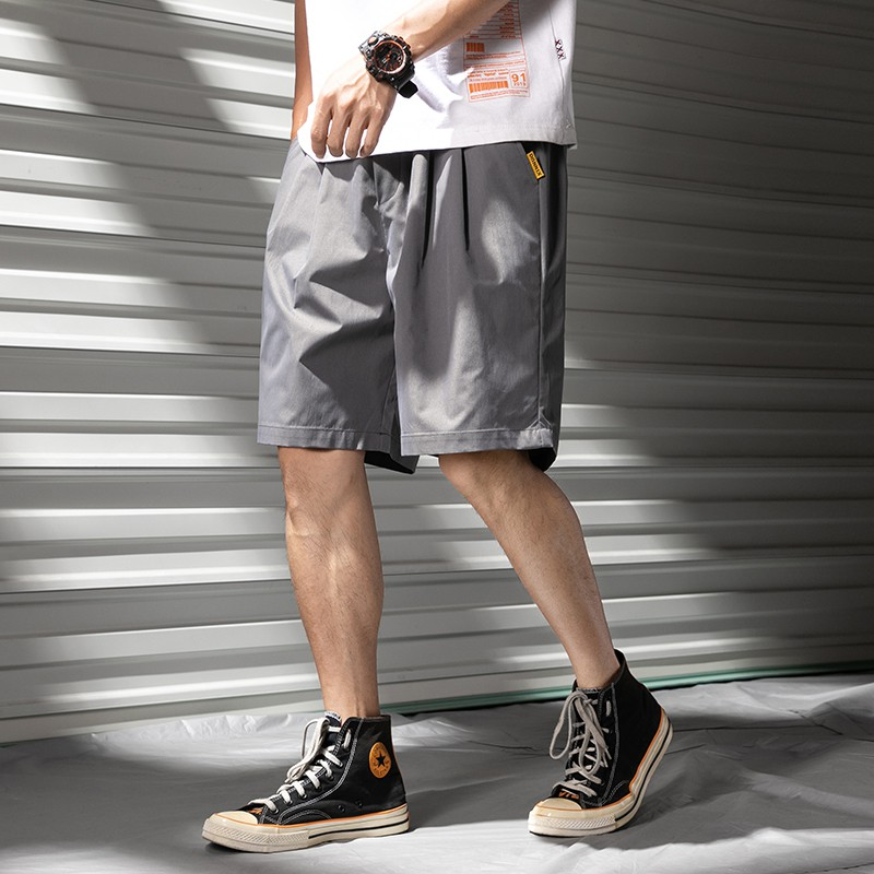 ✷❅Summer overalls male han edition loose shorts the tide ins 5 minutes of pants pure color popular logo wind