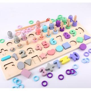 Bộ câu cá xếp số học Toán Montessori và hình dạng 4in1 mẫu đẹp đồ chơi giáo dục