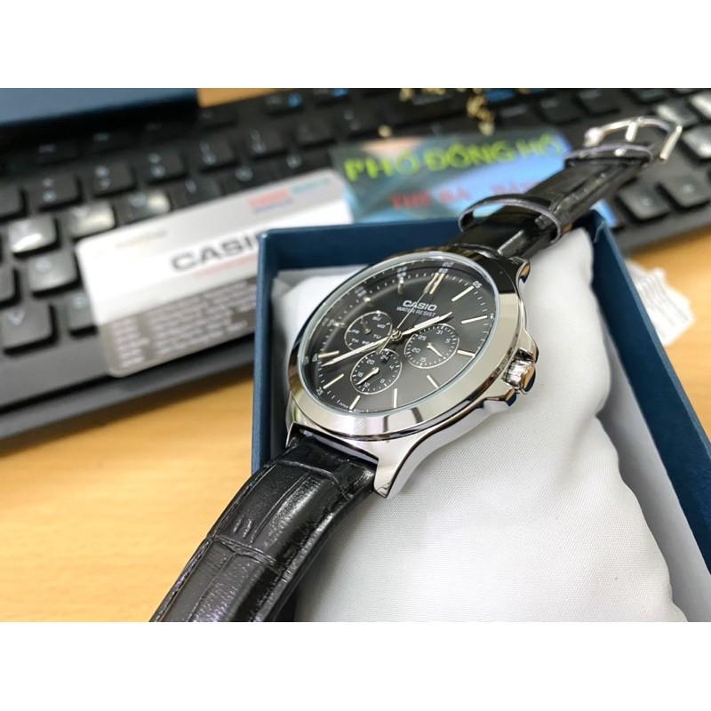 Đồng hồ nam dây da Casio chính hãng Anh Khuê MTP-V300L-1AUDF
