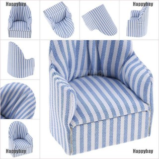 Happybay 1:12 dollhouse miniature furniture stripe sofa chair for bed room living room