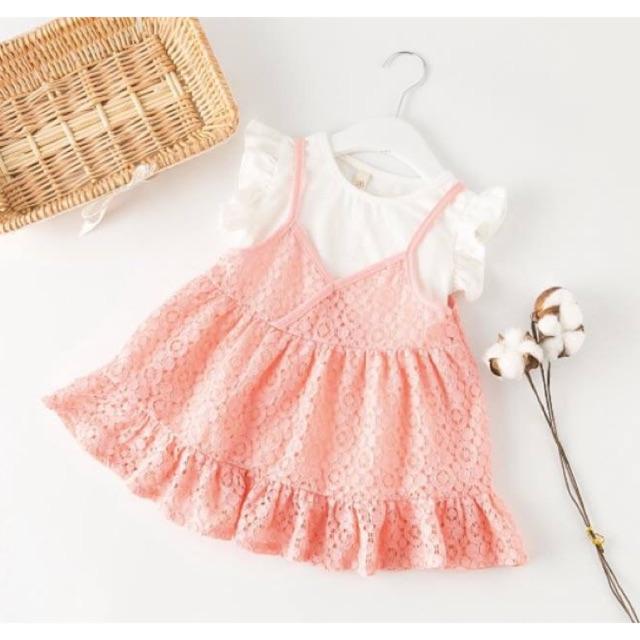 Set váy ren + áo phông