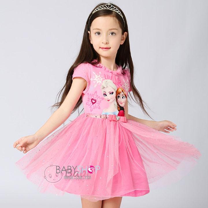 Váy Elsa tà dài hồng xanh size 110 - 150. Hàng Quảng