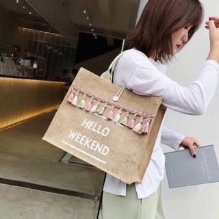 ( Hàng sẵn -hàng hót ) Túi cói hello weekend tua rua mẫu mới hót nhất