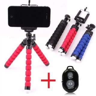 Combo Giá đỡ chụp ảnh điện thoại bạch tuộc + Remote chụp hình tự sướng Bluetooth -phukiensotvt