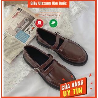 Giày ulzzang oxford vintage  da lỳ có dây vuông cho nữ phong cách hàn quốc trẻ năng động