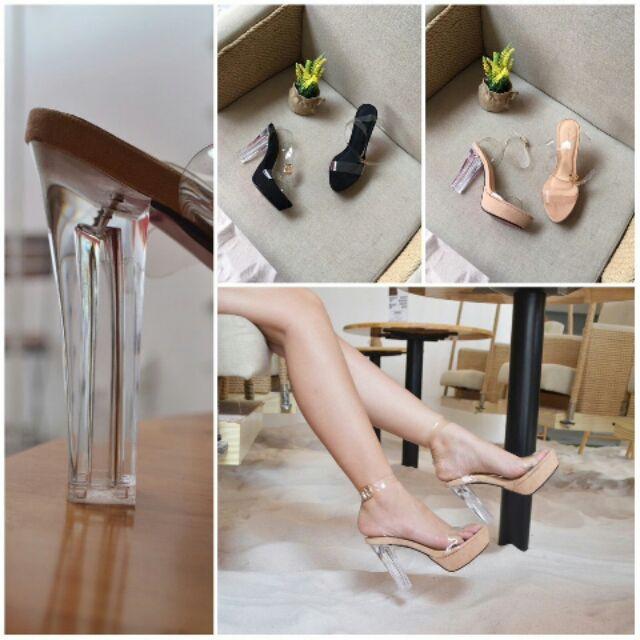 Giày cao gót dây trong đế mica đúp mũi