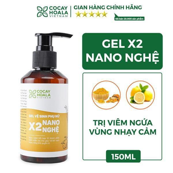 Dung dịch vệ sinh phụ nữ Trị Viêm Ngứa Gel X2 Nano Nghệ Cỏ Cây Hoa Lá 150 ml