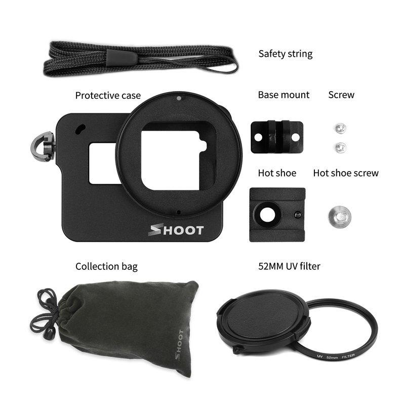 Aluminum Alloy Protective Case Camera Cage With 52mm UV Lens For GoPro Hero 5