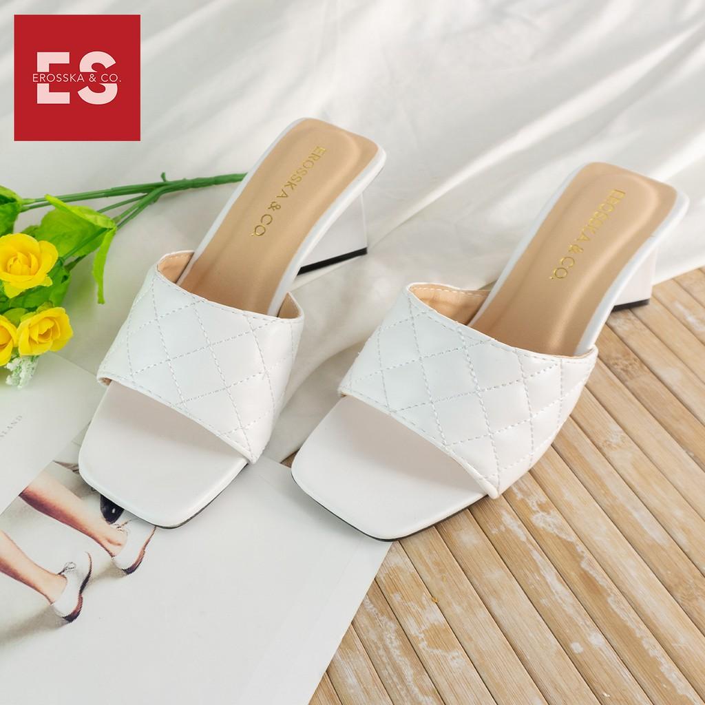 Dép cao gót Erosska thời trang mũi vuông quai ngang phối gót sơn gỗ kiểu dáng thanh lịch cao 5cm màu trắng _ EM045
