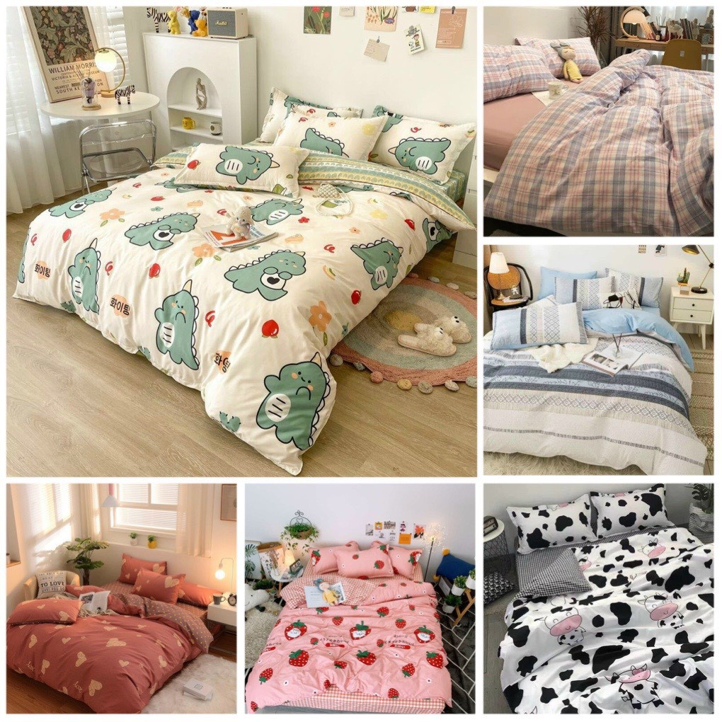 Bộ chăn ga gối Cotton poly kẻ Gosan Bedding chăn ga Hàn Quốc miễn phí bo chun drap ga giường