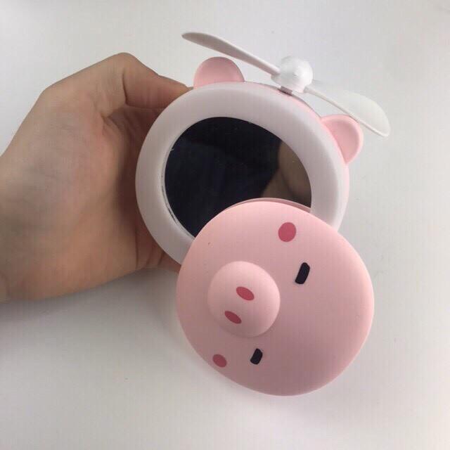 [ BH 1 ĐỔI 1] Quạt Mini Cầm Tay Có Đèn Led Hình Chú Heo 3 in1 Có Sạc USB, Gương Soi Mặt Kèm Quạt Đa Năng