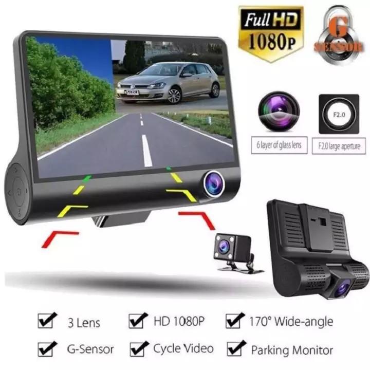Camera hành trình ô tô 3 mắt camera, màn hình 4 inh full HD, ghi hình đa chiều, có chế độ ghi đè