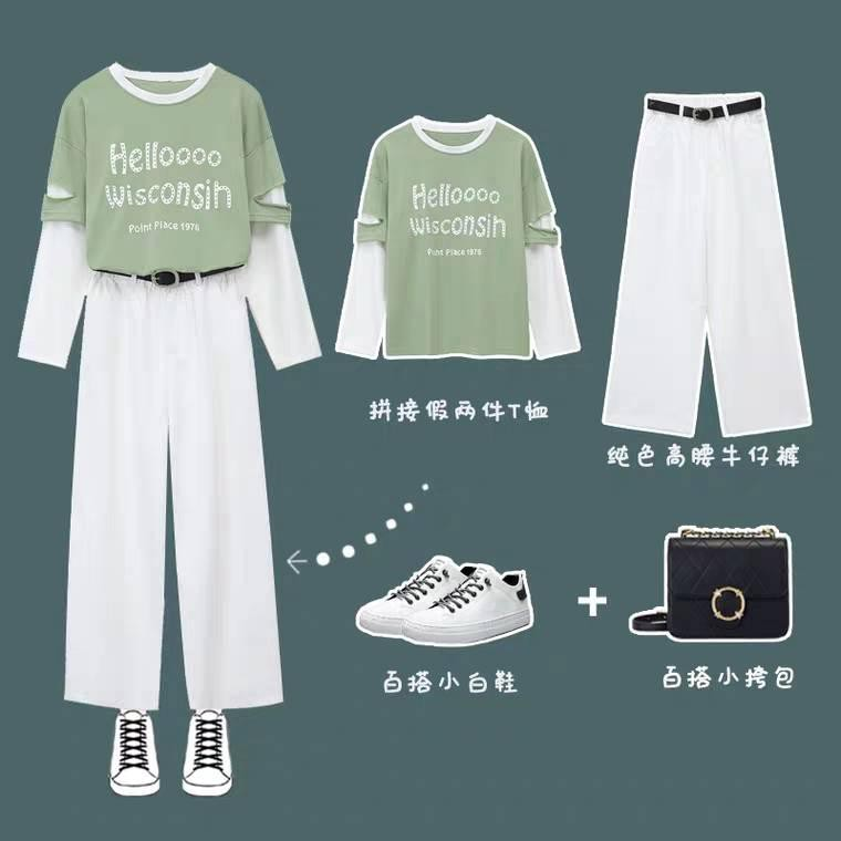 [TAOBAO] SET ULZZANG - SET ÁO TAY DÀI RÁCH + QUẦN KAKI TRẮNG