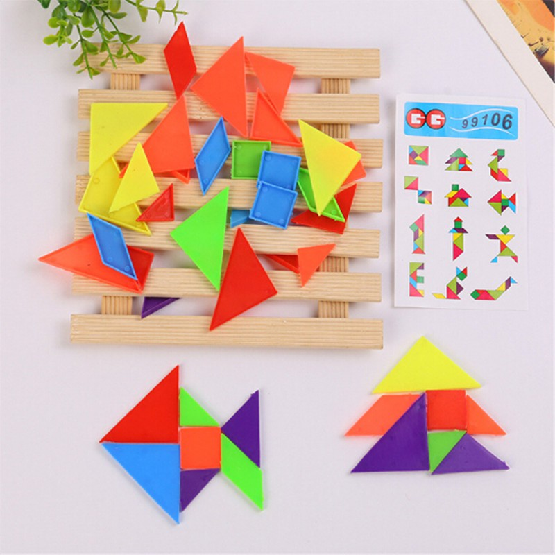 2Set 7-rainbow color tangram diy plastic brain puzzle kids educational toys