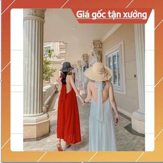Đầm maxi cổ yếm hở lưng (CÓ ĐỆM NGỰC) hàng 2 lớp loại đẹp chất lụa hàn cao cấp 💕FREESHIP💕 DÂY NƠ TO BẢN