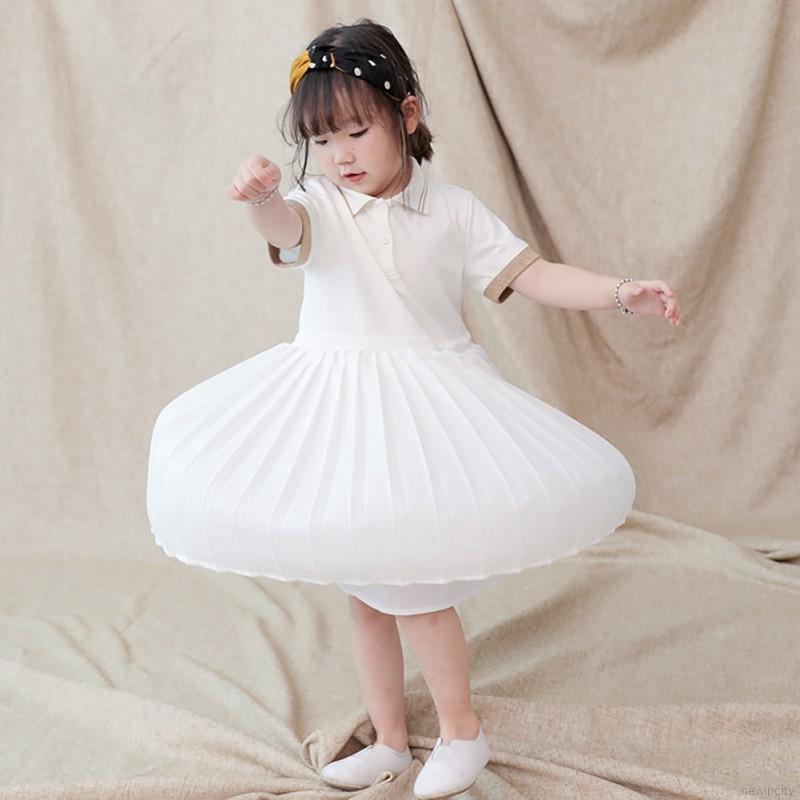 Đầm tay ngắn thiết kế phối xếp li kiểu dáng năng động cho bé gái