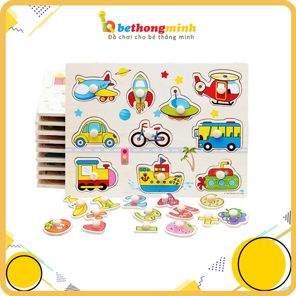 Bảng ghép hình núm cầm bằng gỗ nhiều chủ đề đồ chơi gỗ thông minh giáo dục Montessori cho bé phát triển trí tuệ