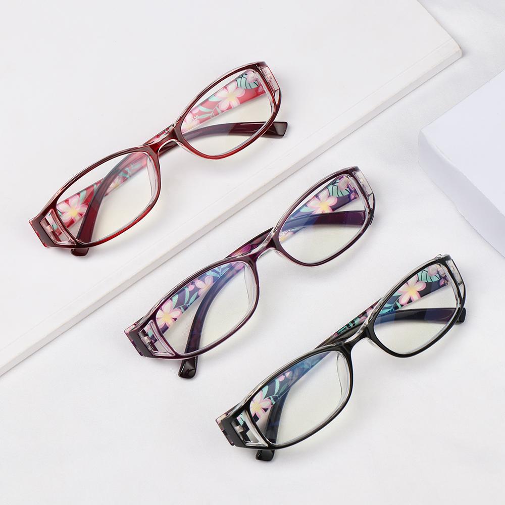 🌵CACTU🌵 Women Reading Glasses Comfortable Ultra Light Frame Anti-Blue Light Eyeglasses Portable Elegant Fashion Flowers Vintage Eye Protection Purple/Purple/Black