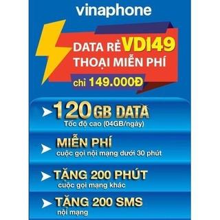 [ĐỦ 12T] Sim 4G Vina VD149 Miễn Phí Data 4GB 1 Ngày Và Gọi 12 Tháng Không Cần Nạp Tiền