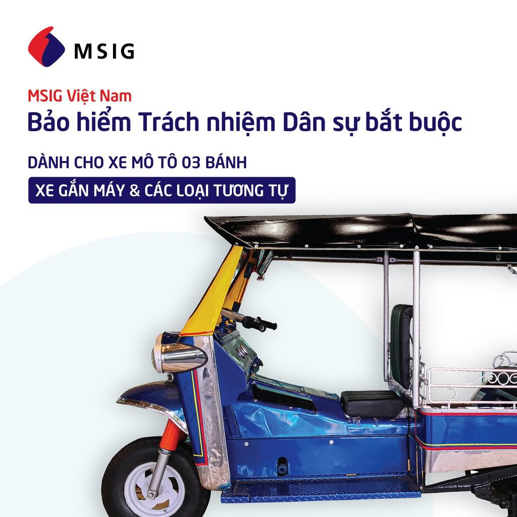 Toàn Quốc [E-Voucher] Bảo hiểm Trách nhiệm dân sự MSIG - Xe mô tô 3 bánh, xe gắn máy, các loại tương tự