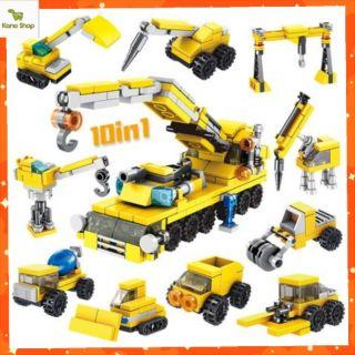 Mô hình lắp ghép lego 10 trong 1 Máy xúc công trường