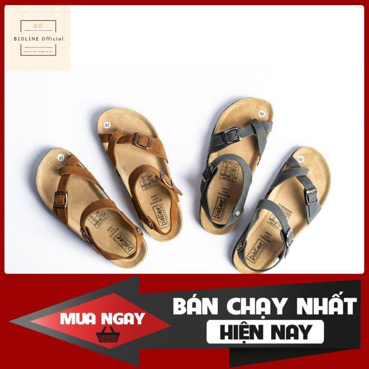Giày sandal Bioline dép quai hậu xỏ ngón quai chéo unisex chất liệu 100% da bò thật