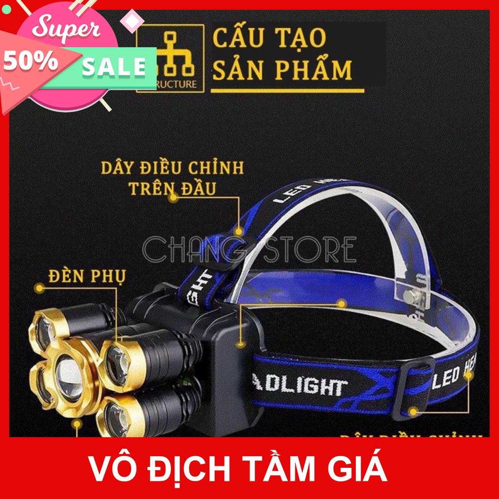 Bản Mới, Bóng To Sáng Hơn ] Đèn Pin Đội Đầu 5 Mắt Siêu Sáng, Đèn Pin Siêu  Sáng rẻ như bán sỉ 100% [Mã FASHION10K hoàn chính hãng 89,100đ