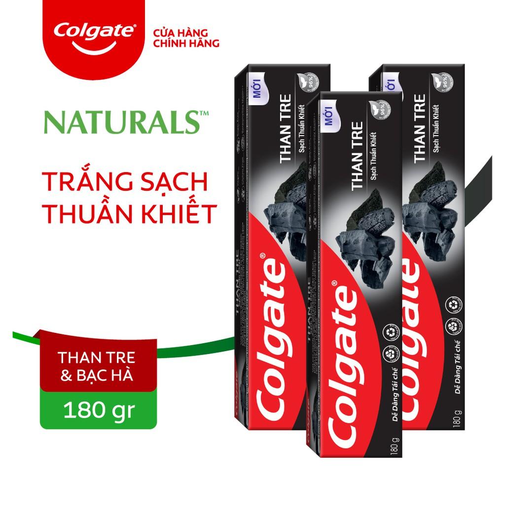 Bộ 3 Kem đánh răng Colgate thiên nhiên sạch khuẩn từ Than tre Hàn Quốc & bạc hà 180g/ tuýp