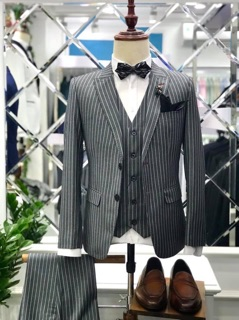 bộ vest nam kẻ sọc 2 cúc lịch lãm full size
