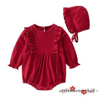 ✿Sc♚Baby´s Long Sleeve Onesie Bodysuit Infant Romper Solid Color Jumpsuit with Separated Hat