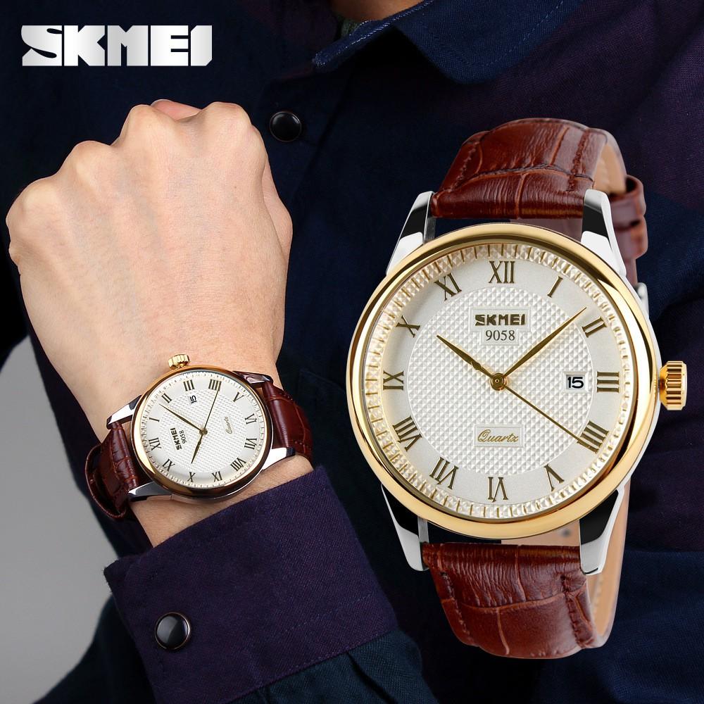 Đồng hồ nam chính hãng dây da cao cấp chống nước SKMEI SM21 -Gozid.watches