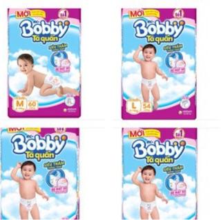 (Mẫu trà xanh Tã quần Bobby M74,M60,L68,L54,XL62,XL48,XXL56,XXL44 tặng 8 miếng cùng loại