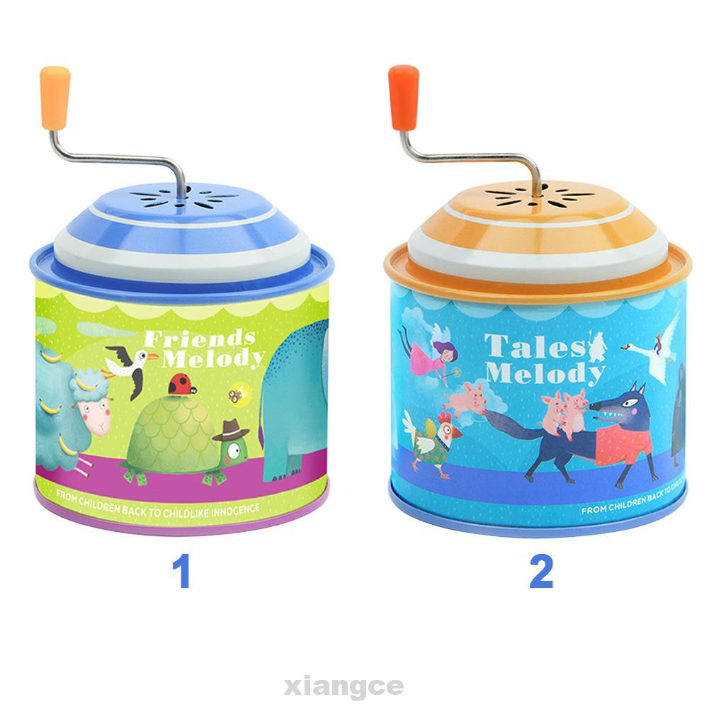 Home Decor Accessories Craft Retro Birthday Gift Ornament Iron Kids Toy Early Learning Hand Crank Music Box