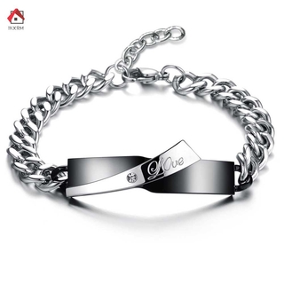 IKXRM Simple Fashion Lovers Couple Inlay Rhinestone Titanium Steel Bracelet Men And Women Hand Chain Trendy Jewelry Gift
