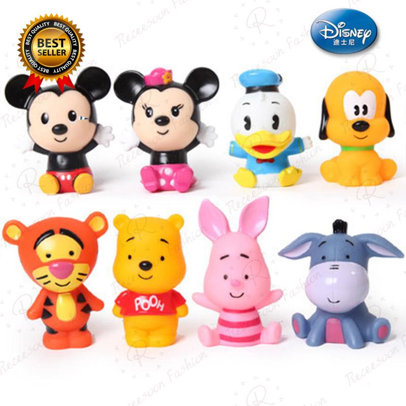 4pcs Disney Mickey Minnie Bathing Toys Baby Shower Wash Bath Toy Soft Rubber Toy