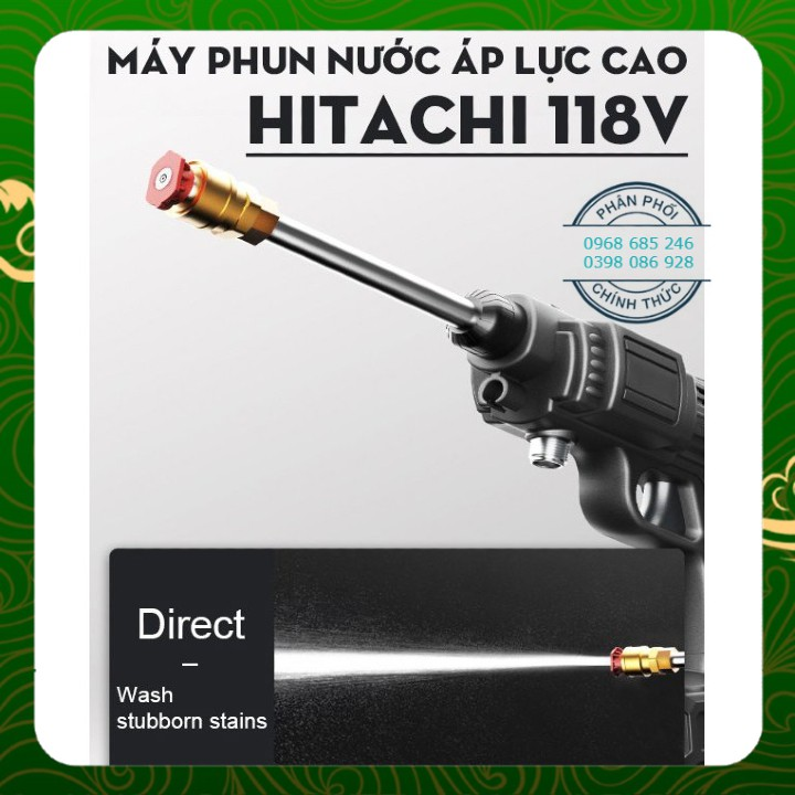 Máy rửa xe, vệ sinh, tưới hoa cầm tay dùng pin Hitachi 118V–Áp lực mạnh, pin sạc bền bỉ – 3 chế độ phun rửa