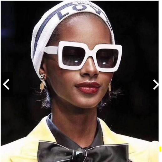 [Hàng có sẵn] Kính mát gọng vuông thời trang _ viền trắng tròng đen hoặc đen full