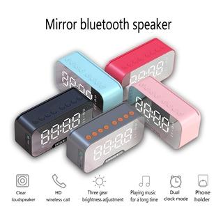 Loa mini di động Loa siêu trầm Âm thanh nổi Loa Bluetooth không dây Wiresto Đồng hồ báo thức LED Loa gương