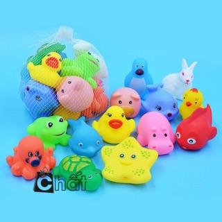 Bộ đồ chơi 10 sinh vật biển phát tiếng kêu chíp chíp thả nhà tắm cho bé