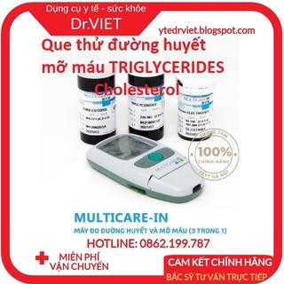 Que thử đường huyết- mỡ máu TRIGLYCERIDES- Cholesterol dùng cho máy đo đường huyết 3 trong 1 Multicarein chính hãng Ý