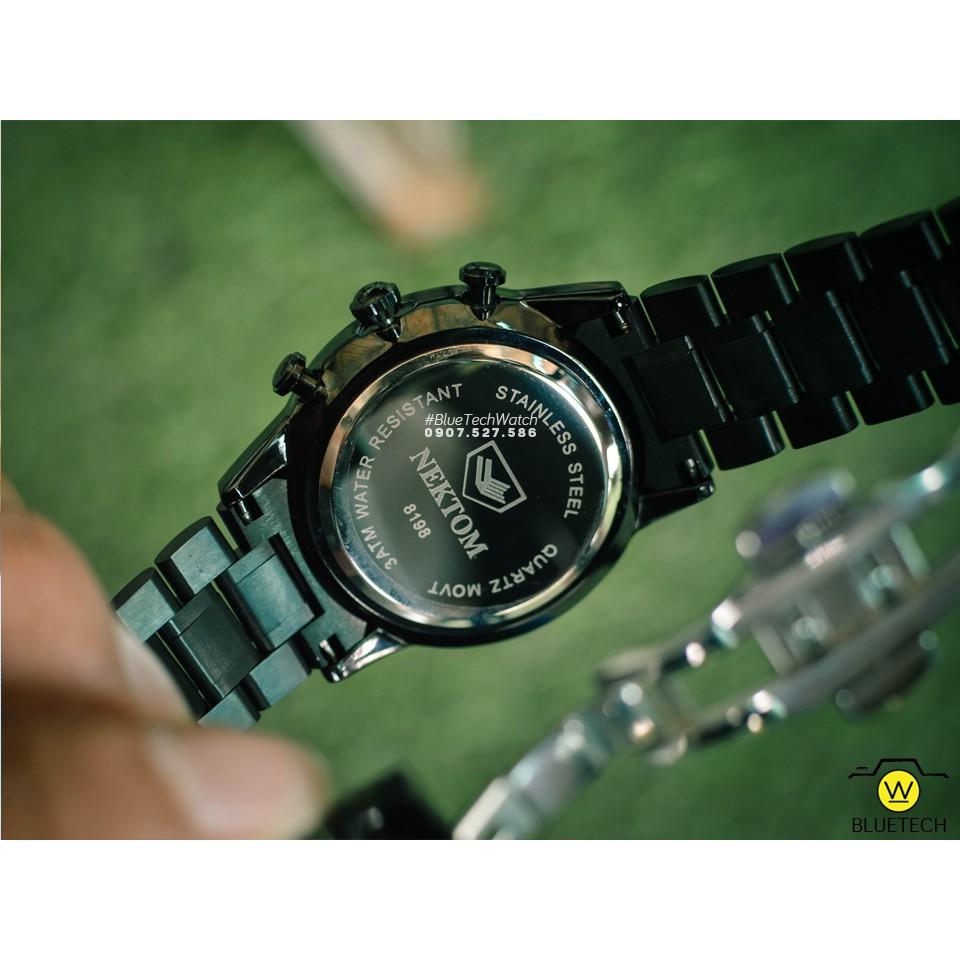 Đồng hồ Nam NEKTOM 8198 sang trọng FULLBOX - Dây Đen Mặt Đen