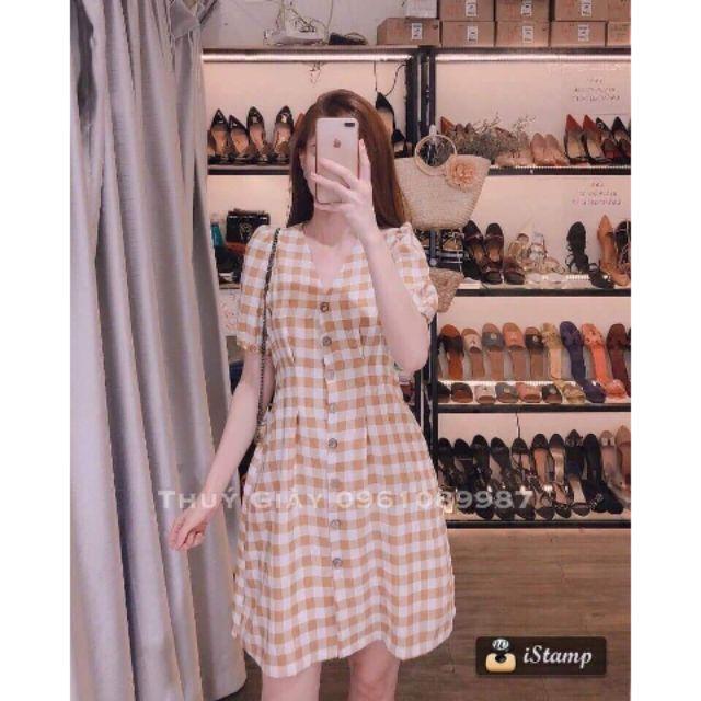 Đầm caro dài