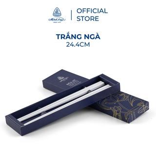 Bộ 02 đôi đũa sứ Minh Long 24.4 cm - Trắng ngà