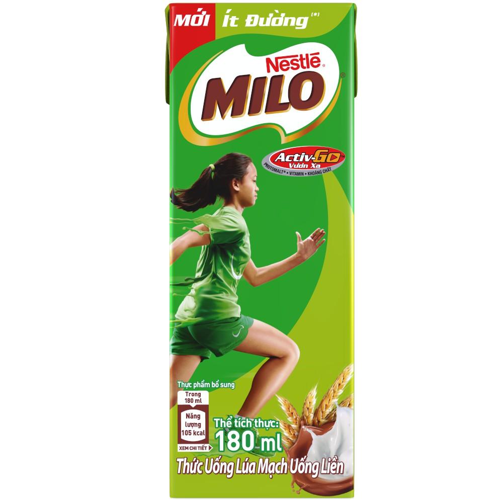 Hình ảnh [Mã GRO1NEST19 giảm tối đa 35K đơn 150K] Thùng Thức uống lúa mạch uống liền Nestlé MILO ít đường 48x180ml-4