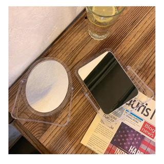 gương để bàn pilu soi trang điểm bằng nhựa có chân trong suốt