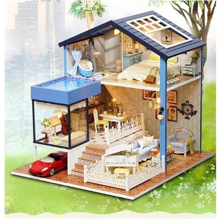 Mô hình nhà gỗ mini một sáng mai bình yên